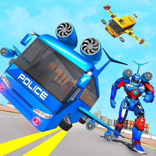 Flying Bus Robot Transform War- Police Robot Games  (Unlimited money,Mod) for Android 1.0.11