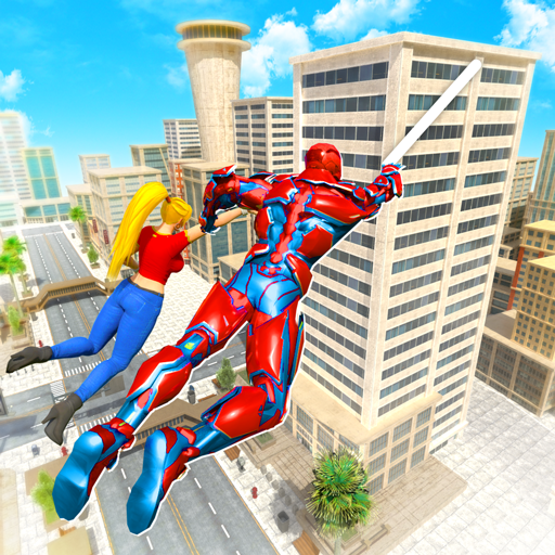 Flying Police Robot Rope Hero: Gangster Crime City  (Unlimited money,Mod) for Android 18