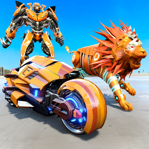 Lion Robot Transform Bike War : Moto Robot Games  (Unlimited money,Mod) for Android 6.9
