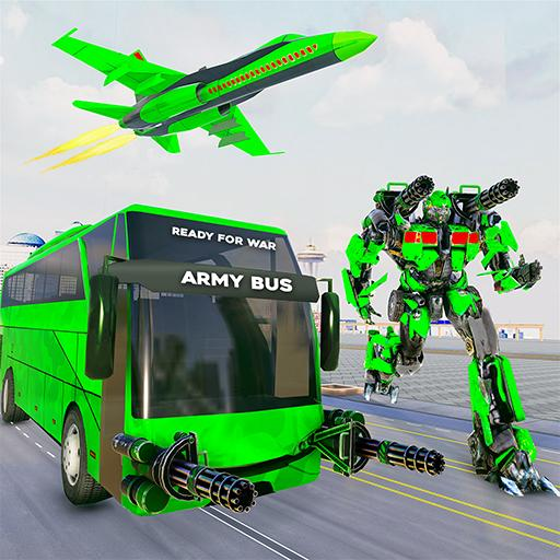 Army Bus Robot Transform Wars – Air jet robot game  4.0 (Unlimited money,Mod) for Android