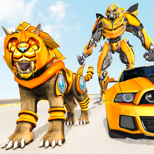 Lion Robot Car Transforming Games: Robot Shooting  (Unlimited money,Mod) for Android 1.8