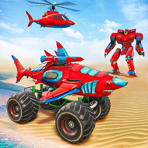 Monster Truck Robot Shark Attack – Car Robot Game  (Unlimited money,Mod) for Android